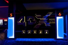 4DX Cinema lounge at the Mega Mall. BUCHAREST ROMANIA - Feb 10 2017 4DX Cinema lounge at the Mega Mall shopping center in Bucharest , Romania Stock Photo