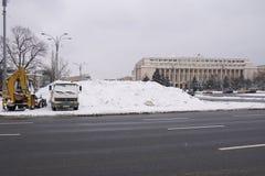 Heavy snow in Bucharest Stock Image