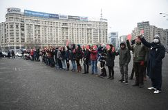 Mothers protest in Bucharest against government Royalty Free Stock Image