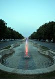 Bucharest Romania: fountain on Unirii Boulevard Royalty Free Stock Photos