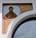 Bucharest, Romania: Fresco of Christ outside Church of St Peter. A fresco of Jesus Christ on the outside wall of the church of St Peter and St Paul (Biserica stock image