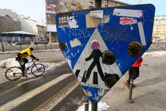 Crosswalk in Bucharest - day life stock images