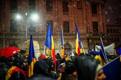 Protest in Bucharest, Romania Stock Photos
