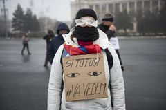 STOLEN JUSTICE - International Protest. Bucharest, Romania - January 21, 2018: STOLEN JUSTICE - International Protest in Poland, Germany, Czech Republic and Royalty Free Stock Images