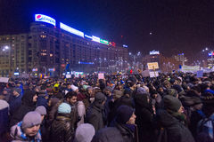 Bucharest, Romania - January  2017: Thousand people marched through the Romanian capital on  to protest the govern Royalty Free Stock Image