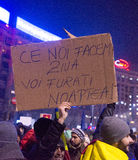 Bucharest, Romania - January  2017: Thousand people marched through the Romanian capital on Wednesday night to protest the govern Royalty Free Stock Images
