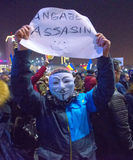 Bucharest, Romania - January  2017: Thousand people marched through the Romanian capital on Wednesday night to protest the govern Stock Photos