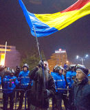 Bucharest, Romania - January  2017: Thousand people marched through the Romanian capital on Wednesday night to protest the govern Royalty Free Stock Photography