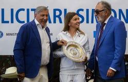 Wimbledon winner Simona Halep - arrival in Romania stock image