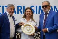Wimbledon winner Simona Halep - arrival in Romania royalty free stock photography