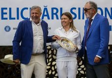 Wimbledon winner Simona Halep - arrival in Romania royalty free stock photo