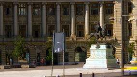 Bucharest, Romania July, 2015: Rush Hour In University Square, Static Shot. BUCHAREST, ROMANIA -  JULY, 2015: University Square on  JULY 2015.Equestrian statue stock video footage