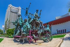 Statuary group The cart with harlequins. Bucharest, Romania Royalty Free Stock Image