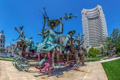 Statuary group The cart with harlequins. Bucharest, Romania Royalty Free Stock Images