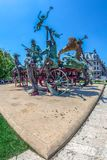 Statuary group The cart with harlequins. Bucharest, Romania Stock Photos