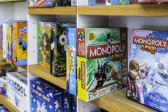 Board Games For Sale In Toys Store royalty free stock photography