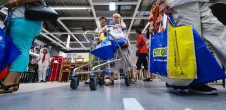 IKEA opening second store in Romania. Bucharest, Romania - June 24, 2019: Buyers and curious visitors to see how the new IKEA Pallady store looks are seen in the stock photos