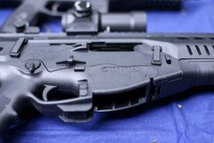 Details with the Beretta logo on a ARX 160 tactical rifle. Bucharest, Romania - June 10, 2019: Details with the Beretta logo on a ARX 160 tactical rifle royalty free stock photos