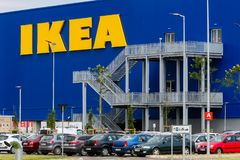 IKEA opening second store in Romania. Bucharest, Romania - June 24, 2019: The logo and the emergency exits of the IKEA building are seen in the opening day of royalty free stock photography