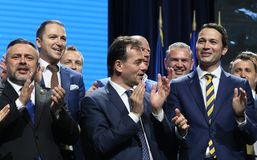 National Liberal Party elections - Romania. Bucharest, Romania - June 17, 2018: Ludovic Orban (C) enjoys together with Ioan Balan (L) and Robert Sighiartau (R) royalty free stock image