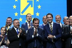 National Liberal Party elections - Romania. Bucharest, Romania - June 17, 2018: Ludovic Orban (C) enjoys together with Ioan Balan (L) and Robert Sighiartau (R) royalty free stock photos