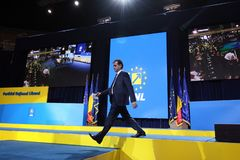 National Liberal Party elections - Romania. Bucharest, Romania - June 17, 2018: Ludovic Orban is the new PNL president elected at the Congress of the National stock image