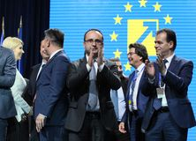 National Liberal Party elections - Romania. Bucharest, Romania - June 17, 2018: Ludovic Orban (R) enjoys together with Cristian Busoi (L) after was elected stock photo