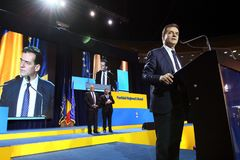 National Liberal Party elections - Romania. Bucharest, Romania - June 17, 2018: Ludovic Orban speaks during the Congress of the National Liberal Party where he royalty free stock image