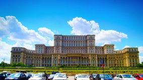 BUCHAREST, ROMANIA -  June 2015,Romanian Parliament or People's House in Bucharest-capital city of Romania. Time lapse shot. stock video