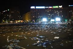 Protest against judicial abuses. Bucharest, Romania - June 09, 2018:Tons of garbage in Victory SquarePiata Victoriei after the protest against judicial `abuses royalty free stock photo