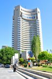 Bucharest, Romania. JUNE 24, 2015. Tourists take pictures of the Intercontinental, major hotel and landmark in the Romanian capital city royalty free stock images