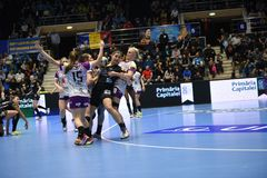Handball match - CSM Bucharest and Midtjylland Stock Images