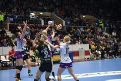Handball match - CSM Bucharest and Midtjylland Royalty Free Stock Photos