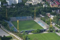 Bucharest, Romania, May 15, 2016: Aerial view of Cotroceni Stadium called Progresul. In Bucharest stock image