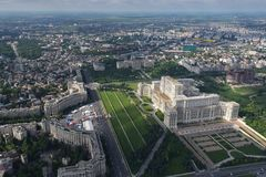 Bucharest, Romania, May 15, 2016: Aerial view of Palace of the Parliament in Bucharest. Romania royalty free stock photography