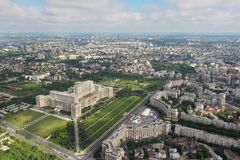 Bucharest, Romania, May 15, 2016: Aerial view of Palace of the Parliament in Bucharest. Romania royalty free stock photos