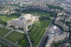 Bucharest, Romania, May 15, 2016: Aerial view of Palace of the Parliament in Bucharest. Romania royalty free stock image