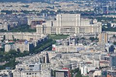 Bucharest, Romania, May 15, 2016: Aerial view of Palace of the Parliament in Bucharest. Romania royalty free stock photo