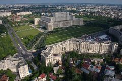Bucharest, Romania, May 15, 2016: Aerial view of Palace of the Parliament in Bucharest. Romania stock images
