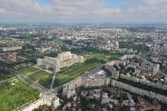 Bucharest, Romania, May 15, 2016: Aerial view of Palace of the Parliament in Bucharest. Romania stock image