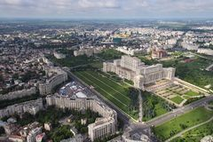 Bucharest, Romania, May 15, 2016: Aerial view of Palace of the Parliament in Bucharest. Romania stock photo