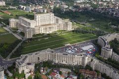 Bucharest, Romania, May 15, 2016: Aerial view of Palace of the Parliament in Bucharest. Bucharest, Romania, May 15, 2016: Aerial view of Palace of the Parliament stock images