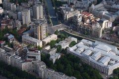 Bucharest, Romania, May 15, 2016: Aerial view of Piata Natiunile Unite. In Bucharest stock photo
