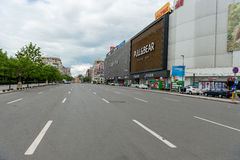 BUCHAREST, ROMANIA - MAY 30, 2017: Bucharest Cityscape with Shopping Mall and Empty Street. Stock Image