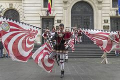 Bucharest, Romania - May 30, 2014: The Flag Wavers show of the performers from Italy Stock Image