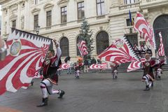 Bucharest, Romania - May 30, 2014: The Flag Wavers show of the performers from Italy Royalty Free Stock Images