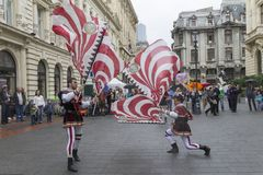 Bucharest, Romania - May 30, 2014: The Flag Wavers show of the performers from Italy Royalty Free Stock Photo