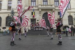 Bucharest, Romania - May 30, 2014: The Flag Wavers show of the performers from Italy Royalty Free Stock Photos