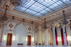 Bucharest, Romania - May 5, 2014: Interior of Palace of Parliament on in Bucharest. stock photo