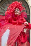 Bucharest, Romania - May 29, 2014: The Red Hearts show of the performers from the Mademoiselle Paillette Company, France. During the B-Fit International Street Royalty Free Stock Image